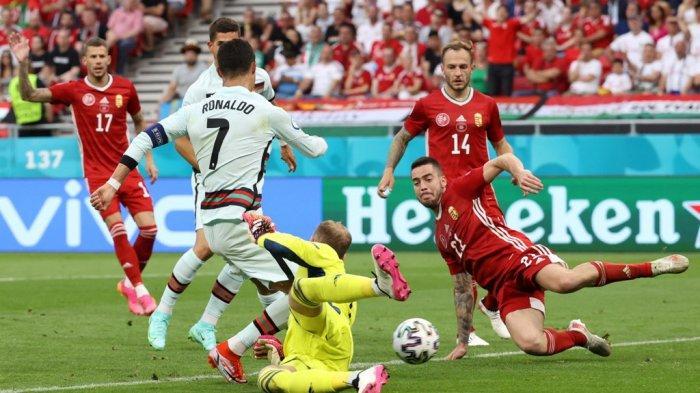 Ilustrasi - Penampilan Cristiano Ronaldo kala menghadapi Hungaria pada pertandingan pertama Grup F Euro 2020.