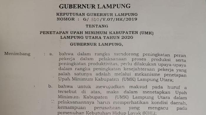 Belum Ada Penolakan Besaran UMK di Lampung Utara