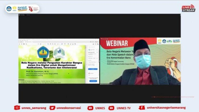 Rektor Unila Prof Karomani Jadi Narasumber Webinar Bela Negara