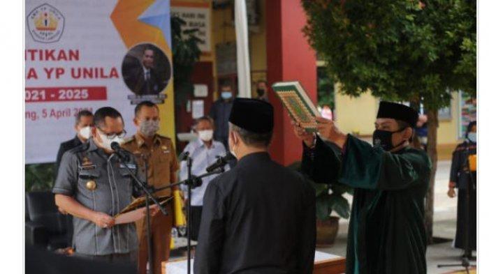 Rektor Unila Hadiri Pelantikan Kepala Sekolah YP Unila