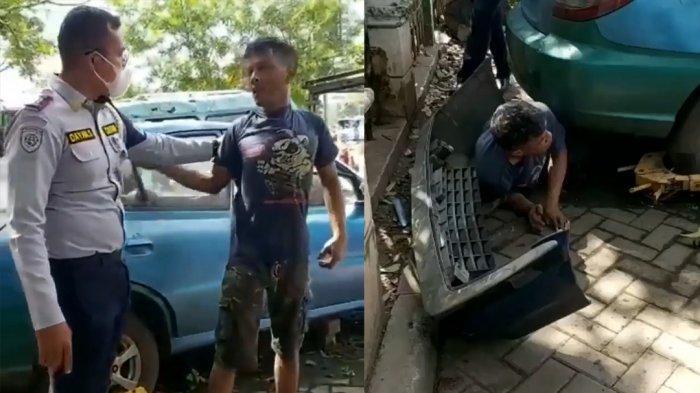 VIDEO Viral Aksi Maling Sparepart Mobil Dipergoki Petugas Dishub