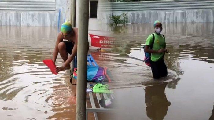 Viral Bak Atlet Profesional Pemuda Ini Nekat Berenang di Genangan Banjir