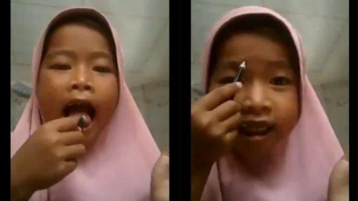 Viral Bocah 5 Tahun Merias Wajah Pakai Pensil Alis Dibalur Air Liur