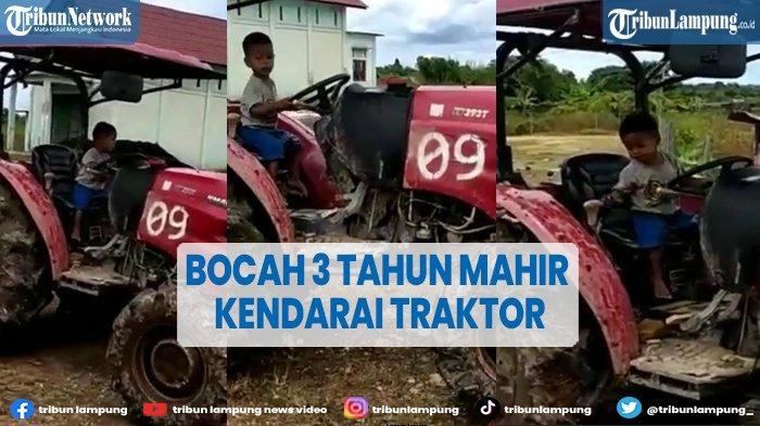 VIRAL Bocah 3 Tahun Jago Kemudikan Traktor Sawah, Videonya Ditonton Ribuan Orang