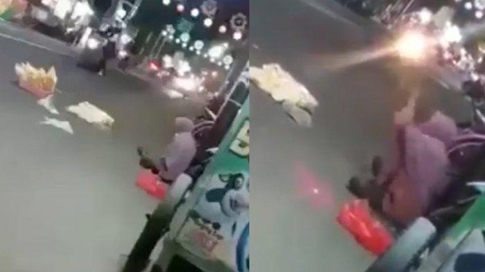 Viral Wanita Menangis Cegat Pengendara Motor Agar Mau Beli Dagangannya