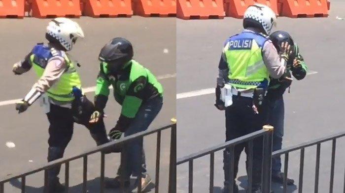 Polisi Tendang Driver Ojol Saat Amankan Rombongan Jokowi