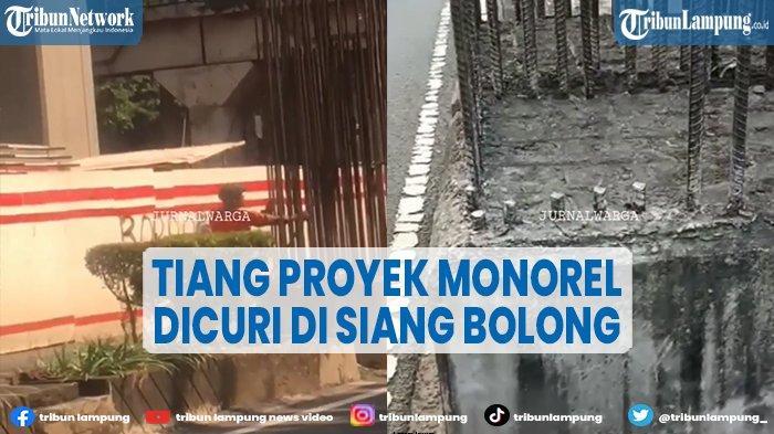 Tiang Proyek Monorel di Jaksel Dicuri Siang Bolong
