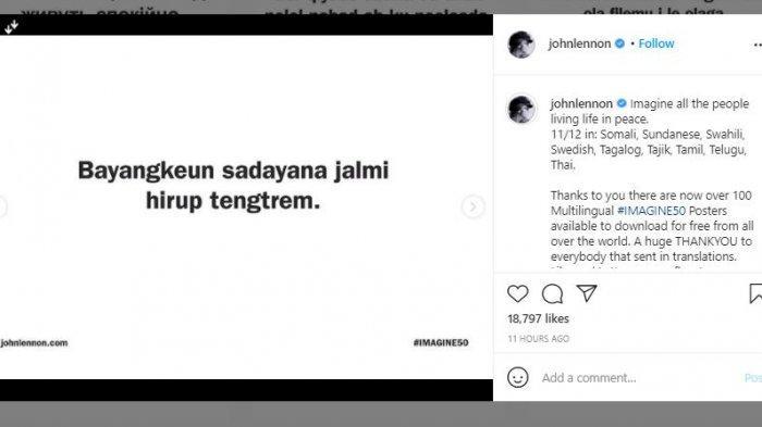 akun John Lennon posting gunakan bahasa Sunda