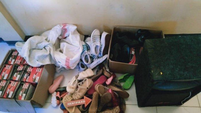 BUKTI: Barang bukti berupa sepatu hasil curian disita Polres Sumbawa.
