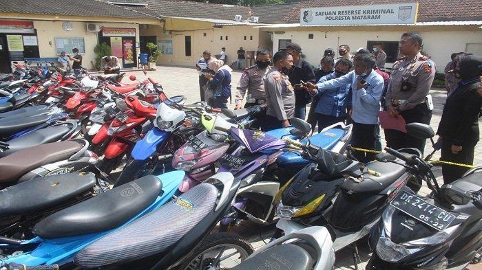 Barang bukti sepeda motor balap liar di Jalan Tohpati diamankan Tim gabungan Operasi Lilin Rinjani 2020, Satlantas Polresta Mataram