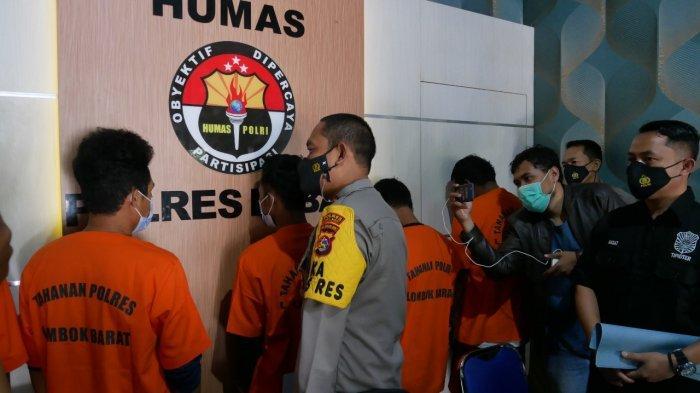 BEGAL: Enam orang pelaku begal ditahan di Polres Lombok Barat, Selasa (4/5/2021).(Dok. Polres Lombok Barat)