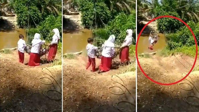 VIRAL Bocah SD Gelantungan Seberangi Sungai, Ternyata Pakai Keranjang Tandan Buah Sawit