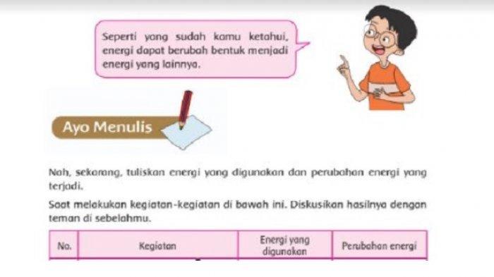 Kunci Jawaban Tema 2 Kelas 4 SD: Tuliskan Energi yang Digunakan dan Perubahan Energi yang Terjadi