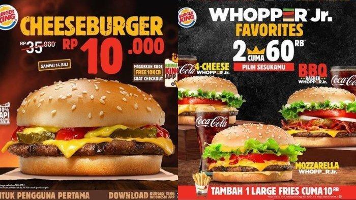 Promo Burger King: Cheeseburger Bayar Rp 10.000 dengan Kode FREE10KCB, Berlaku sampai 14 Juli 2020