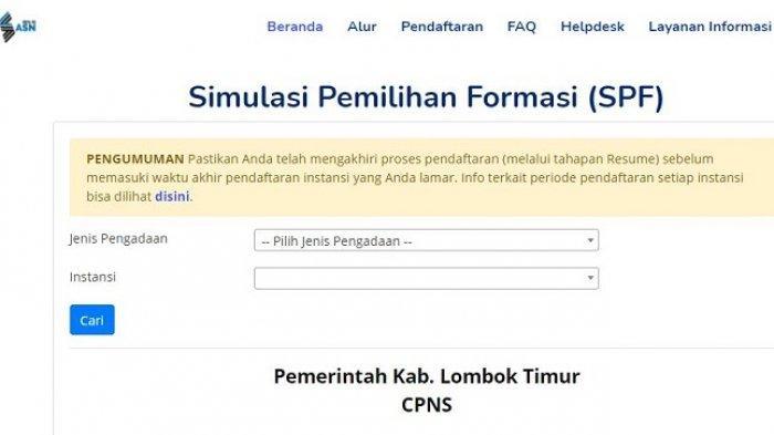 Rincian Formasi CPNS Kabupaten Lombok Timur, Pendaftaran Hanya di sscasn.bkn.go.id