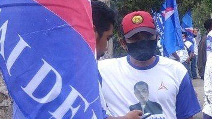 Foto bertuliskan Dr H Moeldoko, sebagai Ketua Umum Partai Demokrat muncul saat KLB partai