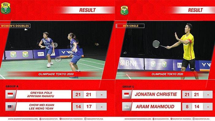 Hasil Badminton Olimpiade Tokyo - Jonatan Christie Tusul Kemenangan Greysia Polii/ Apriyani Rahayu