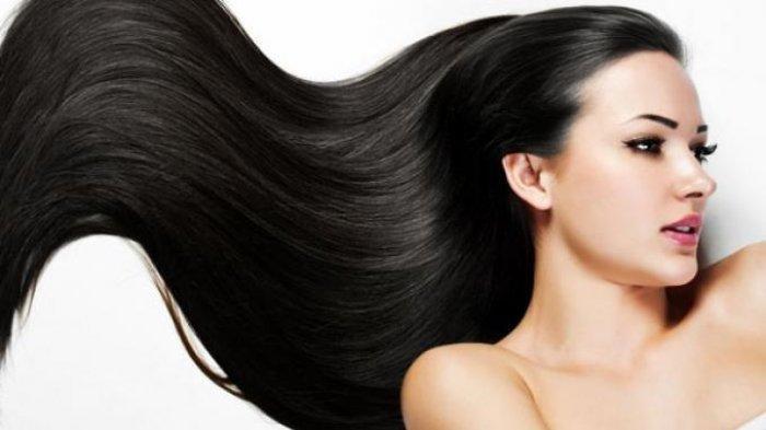 Ilustrasi rambut panjang, indah, tebal dan berkilau