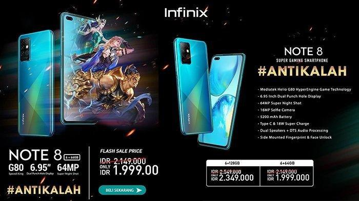 Harga HP Infinix Note 8 di Indonesia, Ponsel Gaming Baterai Besar Dibandrol Rp 1,9 Jutaan