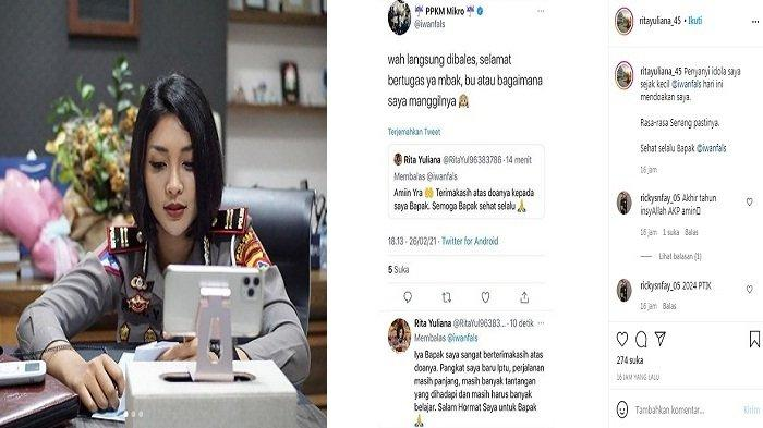 Saling balas cuit akun @Iwanfals dan @Ritayuliana45, Iwan Fals ke Kasat Lantas Polres Lombok Barat Iptu Rita Yuliana (Instagram @ritayuliana_45)
