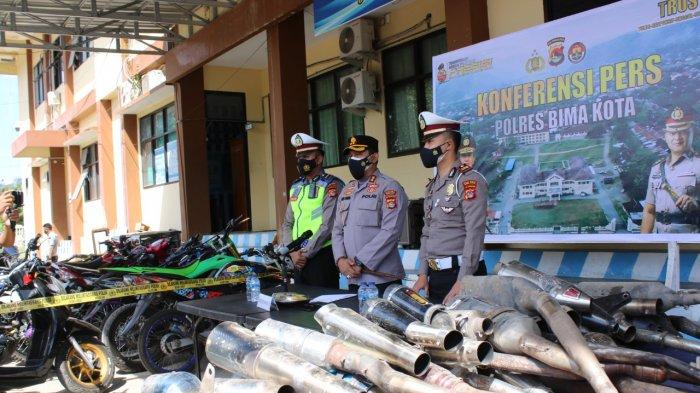 Knalpot Racing Bikin Resah Warga, Polres Bima Kota Sita 78 Motor Berisik