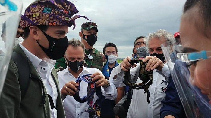 MOTOGP: Kedatangan Tim Dorna Sport disambut di Bandara Internasional Lombok, Rabu (7/4/2021). Mereka diberikan sapu, ikat kepala khas masyarakat Lombok.