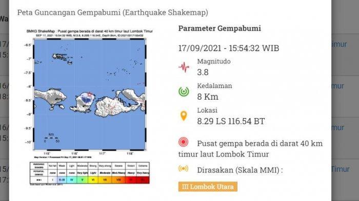 Gempa M 3,8 Guncang Lombok Timur, BMKG: Waspada Gempa Susulan