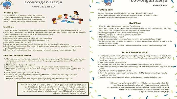 Lowongan Kerja Lombok - Dibutuhkan Guru TK, SD, dan SMP di Futura Indonesia Lombok