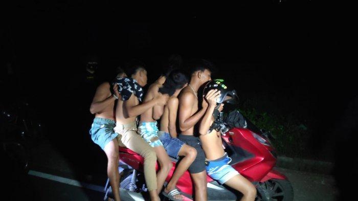 Mabuk-mabukan di Jalan Raya, 6 Pemuda yang Boncengan Pakai Satu Motor Diciduk Polres Lombok Barat