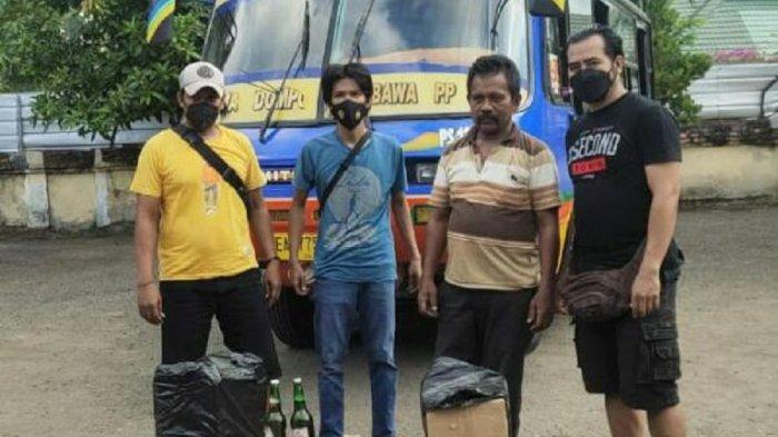 Cegat Bus Antar Kota, Polisi Amankan Puluhan Botol Miras di Bima