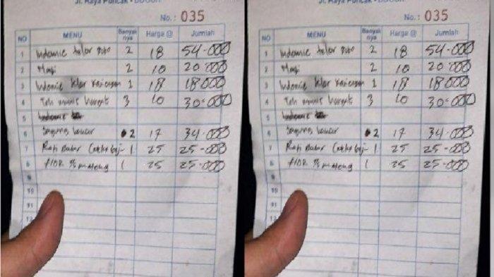 VIRAL Nota Jajan di Kedai Wilayah Puncak Bogor Mi Instan Capai Rp 54 Ribu, Camat Cisarua Cek Lokasi