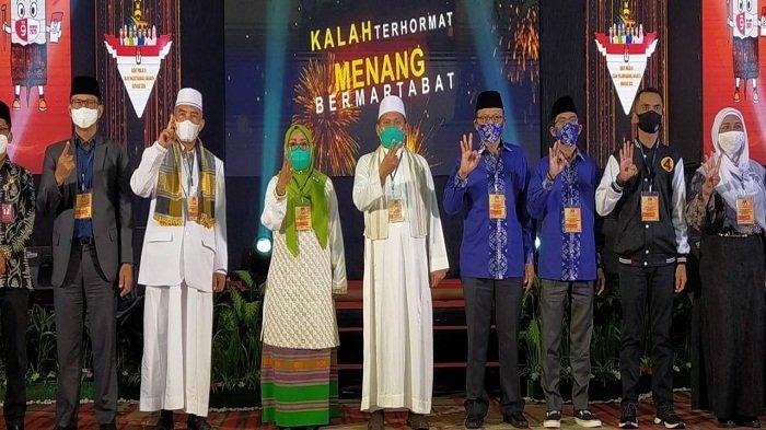 ARSIP para pasangan calon wali kota dan wakil wali Kota Mataram foto bersama setelah debat terakhir, Senin (30/11/2020). Hasil Hitung Cepat Pilkada Kota Mataram