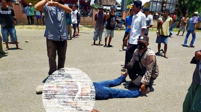 PELAKU TEWAS: Usai menyerang warga, pelaku tewas diamuk massa di halaman RSUD Sondosia, Rabu (6/10/2021).