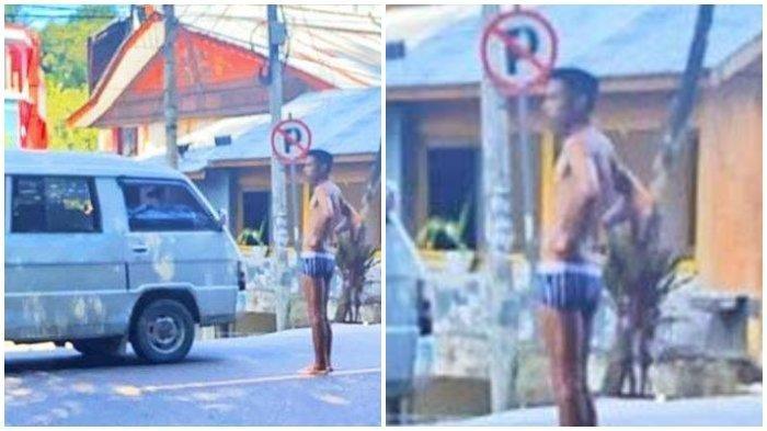 Pria Hanya Pakai Celana Dalam Teriak Histeris di Tengah Jalan, Mengaku Depresi Istrinya Selingkuh