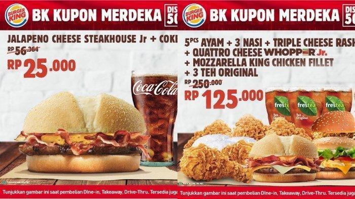 Promo Burger King Kupon Merdeka Diskon 50% Berlaku sampai 31 September 2020, Ini Syarat Ketentuannya