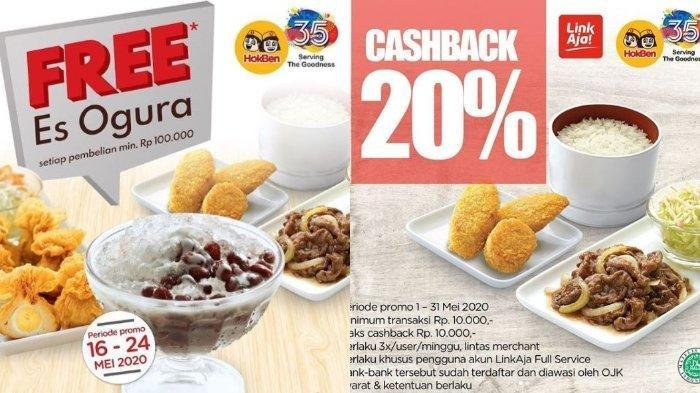 Promo Hokben Cashback 20% Pakai Link Aja hingga Gratis Es Ogura Setiap Pembelian Minimal Rp 100 Ribu