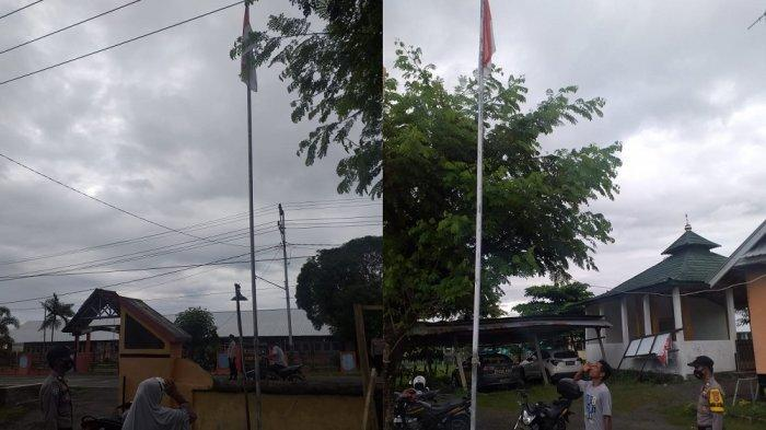 Tidak Pakai Masker, Warga Plampang Sumbawa Dihukum Hormat Bendera