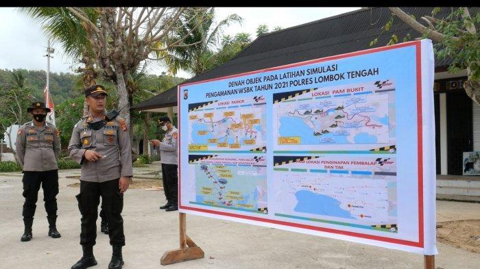 SIMULASI: Anggota Polres Lombok Tengah saat melakukan latihan simulasi parsial pengamanan KEK Mandalika. Dok. Polres Loteng
