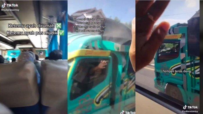 VIRAL Gadis Tak Sengaja Bertemu Ayah saat Mudik, Terpisah Bus dan Truk Tetap Saling Lambaikan Tangan