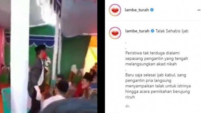 Viral pengantin langsung talak istri setelah ijab kabul diunggah akun gosip Lambe Turah