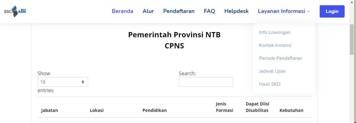 CPNS NTB di situs sscasn