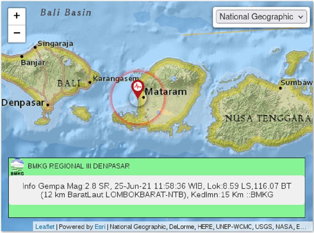 GEMPA: Grafik gempa bumi berkekuatan Magnitudo 2,8 mengguncang wilayah Lombok Barat, NTB, Jumat (25/6/2021).