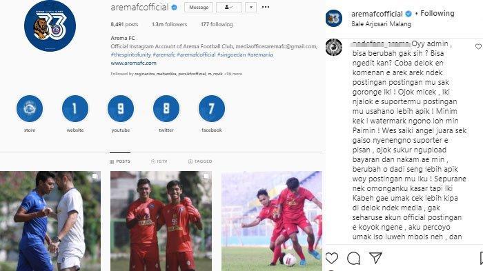 Akun Instagram Arema FC Banjir Kritikan Karena Dinilai Tak Mbois, Manajemen Tanggapi Begini