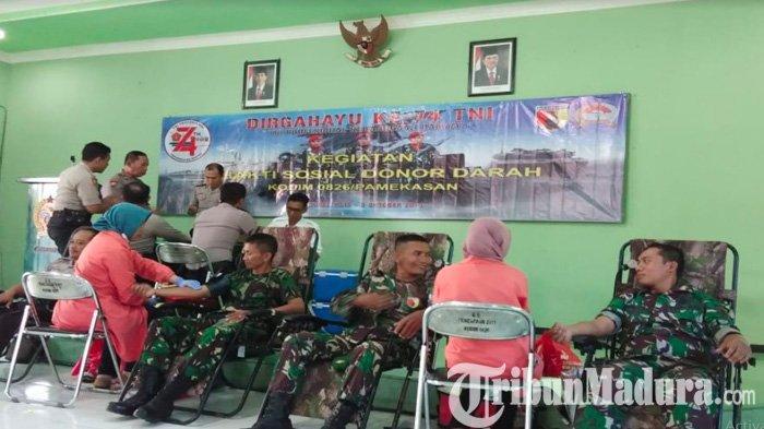 Donor Darah Warnai Peringatan HUT TNI ke-74 di Pamekasan Madura