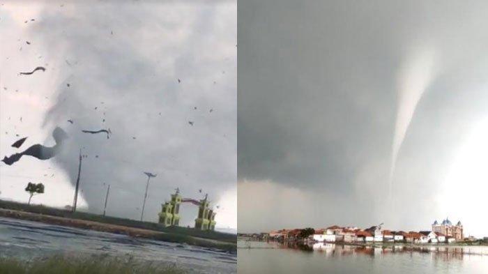 BREAKING NEWS - Detik-detik Angin Puting Beliung Terjang Desa Karanganyar Sumenep, Warga Panik