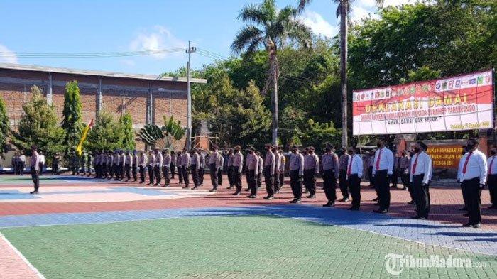 Polres Sumenep Gelar Deklarasi Damai Pilkada Serentak2020, Apel DiikutiKPU hingga Jajaran Parpol