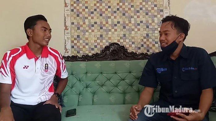 Atlet muda asal Kabupaten Sampang, Ari Fahresi saat berbincang dengan wartawan TribunMadura.com.