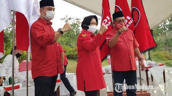 Bakal calon wali kota Surabaya dan Wakil Wali Kota Surabaya, Eri Cahyadi dan Armuji didampingi Risma menggelar deklarasi di Taman Harmoni, Rabu (2/9/2020).