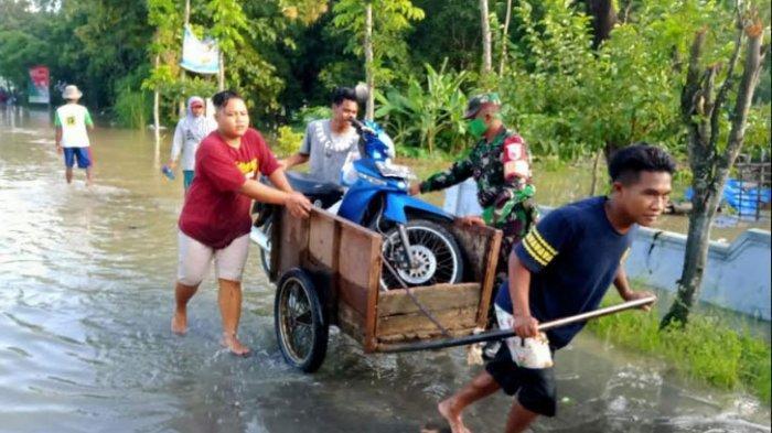 Tuban Selatan Diguyur Hujan Deras, Anak Sungai Bengawan Solo Meluap, Tiga Desa Terendam Banjir