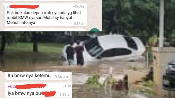 Viral Percakapan Warga Kehilangan Mobil BMW yang Hanyut Terseret Banjir, Ternyata Tersangkut Pohon